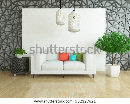 white room with a sofa. Living room interior. Scandinavian interior. 3d illustration #532129621