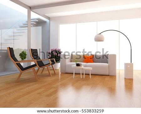 white room with a sofa. Living room interior. Scandinavian interior design. 3d illustration