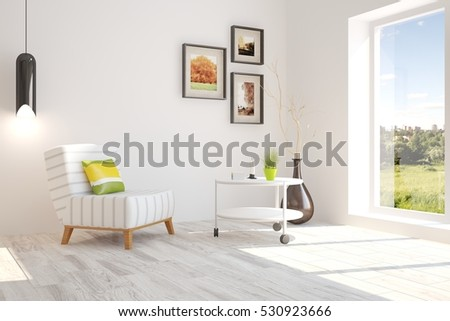 white room with armchair and...