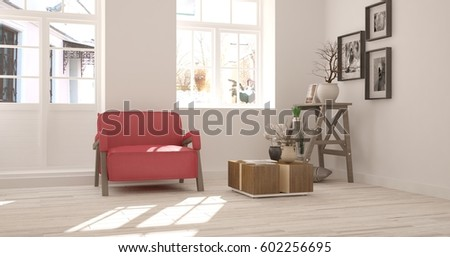 White room with armchair and urban  landscape in window. Scandinavian interior design. 3D illustration #602256695