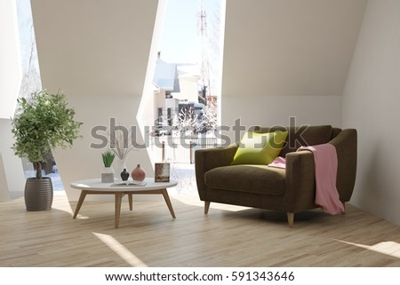 White room with armchair and winter landscape in window. Scandinavian interior design. 3D illustration #591343646