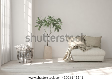White room with armchair. Scandinavian interior design. 3D illustration #1026941149