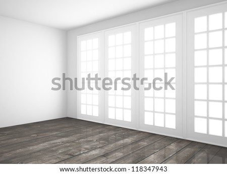white room with big window and wood floor