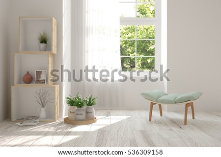 white room with chair and green ...