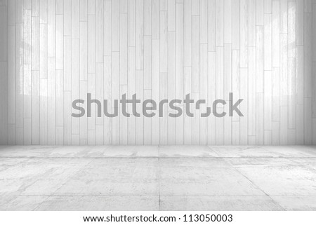 White room with copy space and wooden floor