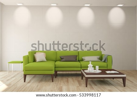 White room with green sofa. Scandinavian interior design. 3D illustration #533998117