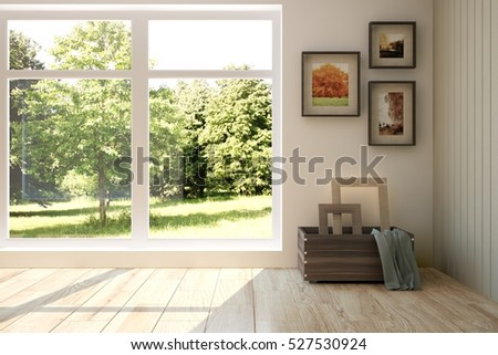White room with modern furniture and green landscape in window. Scandinavian interior design. 3D illustration
