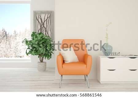 White room with orange armchair and winter landscape in window. Scandinavian interior design. 3D illustration