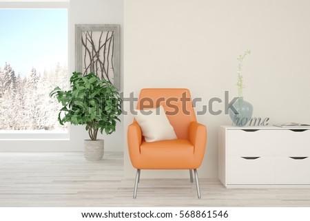 White room with orange armchair and winter landscape in window. Scandinavian interior design. 3D illustration