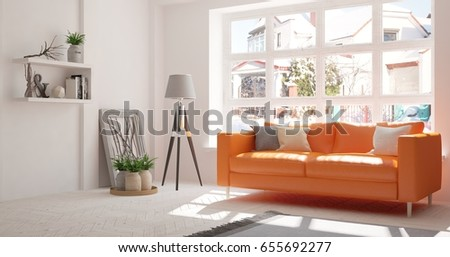 White room with orange sofa. Scandinavian interior design. 3D illustration #655692277