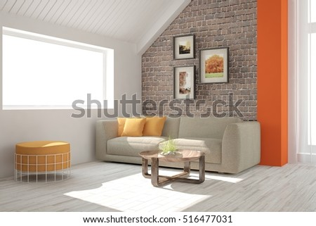 white room with sofa and brick...