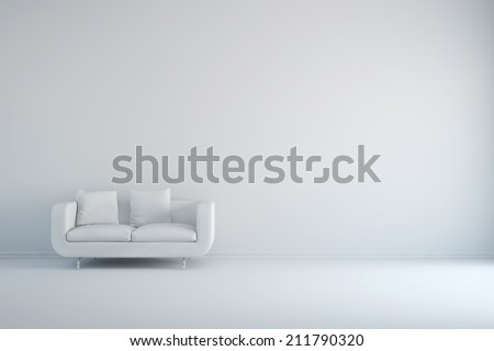 White room with sofa and empty background wall #211790320