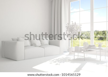 White room with sofa and green landscape in window. Scandinavian interior design. 3D illustration #1014565129