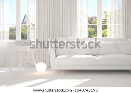 White room with sofa and green landscape in window. Scandinavian interior design. 3D illustration #1040745193