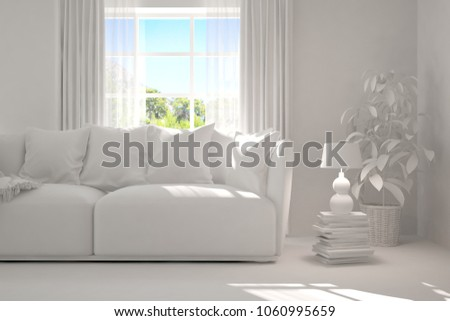 White room with sofa and green landscape in window. Scandinavian interior design. 3D illustration #1060995659