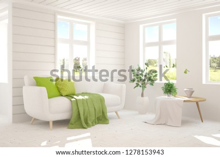 White room with sofa and green landscape in window. Scandinavian interior design. 3D illustration #1278153943