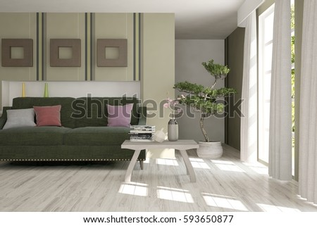 White room with sofa and green landscape in window. Scandinavian interior design. 3D illustration #593650877