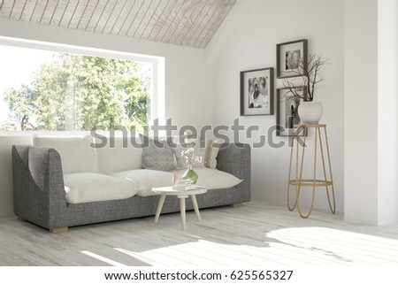 White room with sofa and green landscape in window. Scandinavian interior design. 3D illustration #625565327