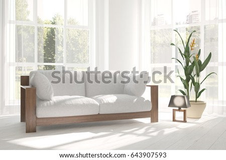 White room with sofa and green landscape in window. Scandinavian interior design. 3D illustration #643907593