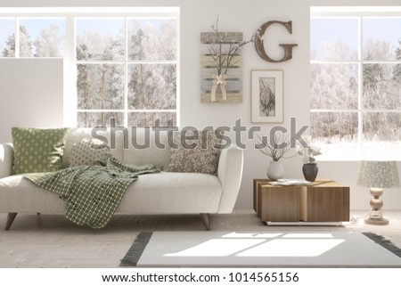 White room with sofa and winter landscape in window. Scandinavian interior design. 3D illustration #1014565156