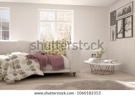 White room with sofa and winter landscape in window. Scandinavian interior design. 3D illustration #1060182353