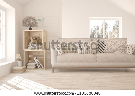 White room with sofa and winter landscape in window. Scandinavian interior design. 3D illustration #1101880040