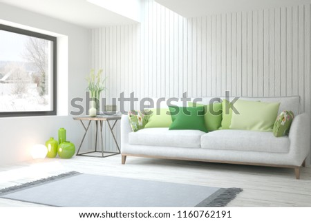 White room with sofa and winter landscape in window. Scandinavian interior design. 3D illustration #1160762191
