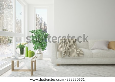 White room with sofa and winter landscape in window. Scandinavian interior design. 3D illustration #585350531