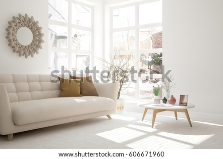 White room with sofa and winter landscape in window. Scandinavian interior design. 3D illustration #606671960