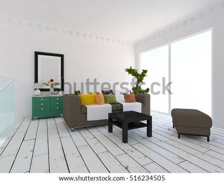 white room with sofa. Living room interior. Scandinavian interior. 3d illustration #516234505