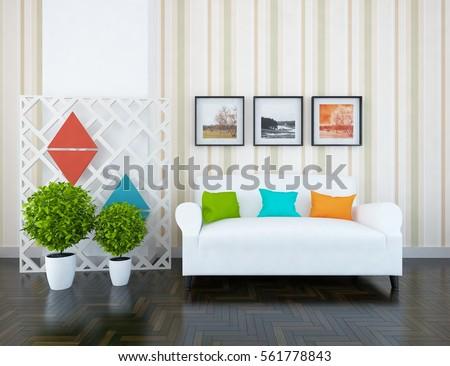 White room with sofa. Living room interior. Scandinavian interior design. 3d illustration