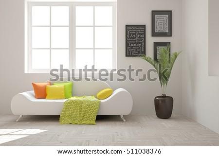 White room with sofa. Scandinavian interior design. 3D illustration #511038376