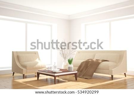 White room with sofa. Scandinavian interior design. 3D illustration #534920299