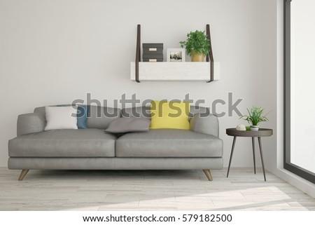 White room with sofa. Scandinavian interior design. 3D illustration #579182500