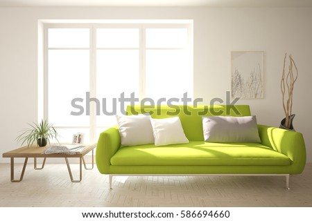 White room with sofa. Scandinavian interior design. 3D illustration #586694660