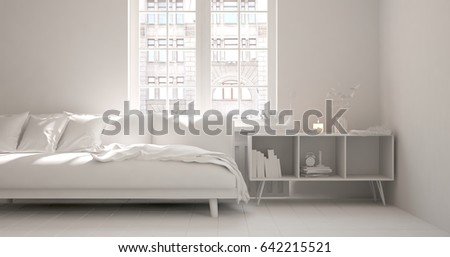 White room with sofa. Scandinavian interior design. 3D illustration #642215521