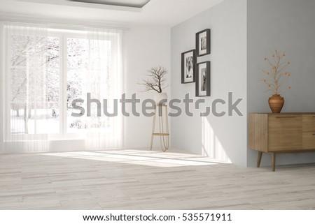 White room with winter landscape in window. Scandinavian interior design. 3D illustration