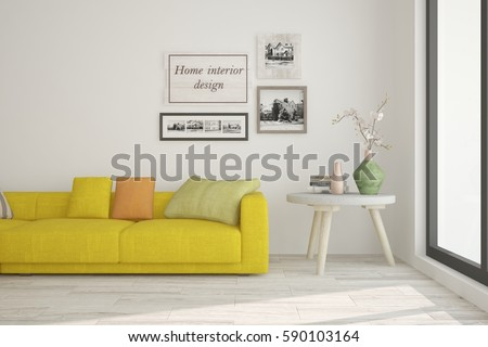 White room with yellow sofa. Scandinavian interior design. 3D illustration #590103164
