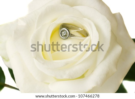 white rose and engagement diamond  ring close up