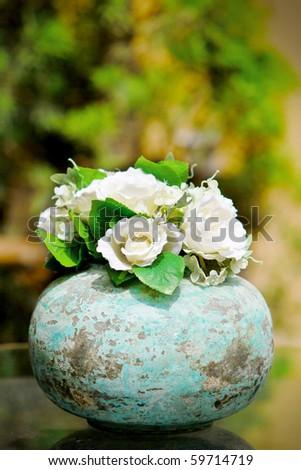 White rose in a vintage pot