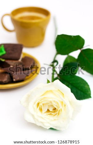 White rose with cup of coffee, over white, shallow depth of field