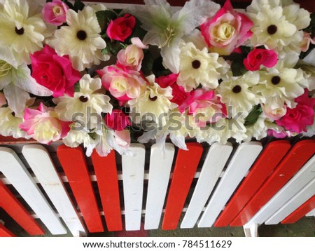 White roses bouquet, pink, red is a very beautiful artificial flowers. #784511629