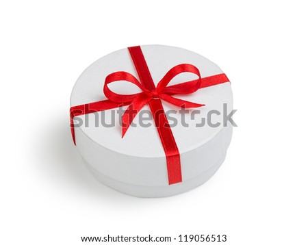 white round cilinder gift box with red bow isolated
