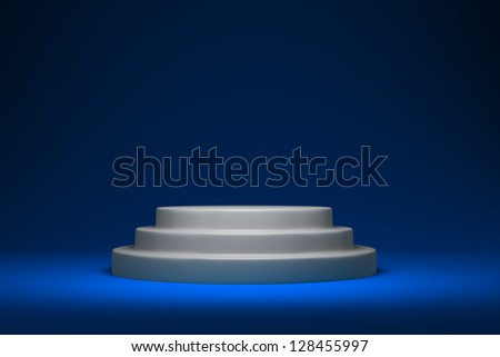 White round podium on the blue background