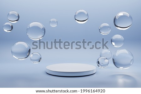 White round podium with air bubbles on blue water surface. Mock up empty geometric stage, platform with soap spheres or water drops for product ad presentation cosmetics. Realistic 3d illustration