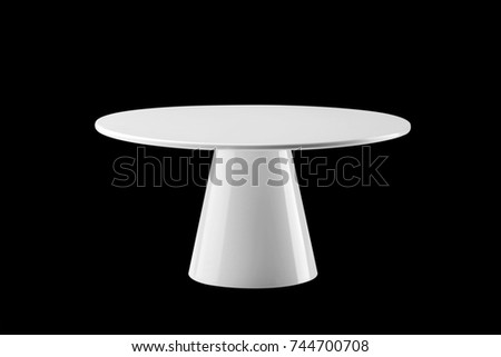 White round stand cake isolated on black background Foto stock ©
