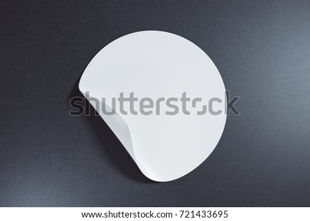 White round sticker with curled peel off corner on dark background. Information concept. Mock up, 3D Rendering  #721433695