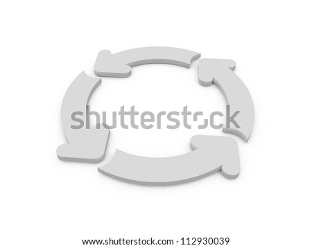 White rounded arrows on process, recycling, isolated on white.