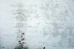 White Rustic Brick Texture. Retro Whitewashed Old Brick Wall Surface.