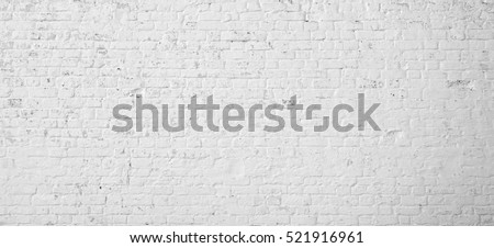 White Rustic Texture. Retro Whitewashed Old Brick Wall Surface. Vintage Structure. Grungy Shabby Uneven Painted Plaster. Whiten Facade Background. Design Element. Abstract Light White Web Banner. #521916961
